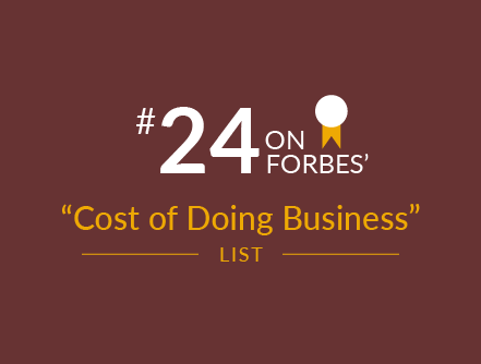 number 24 on forbes' magazine's cost of doing business