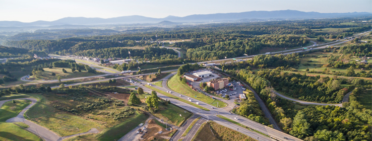 view of major roadways in and around Staunton