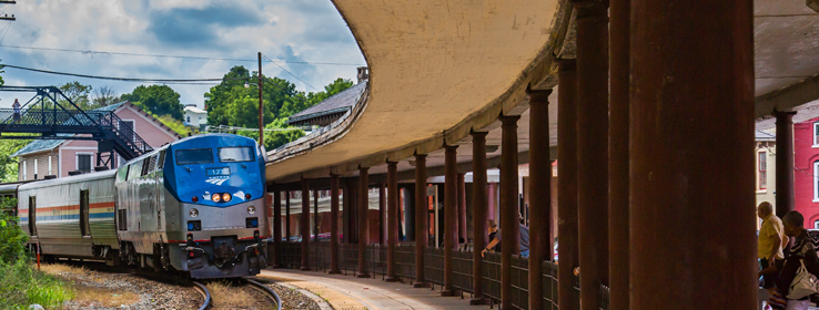 view of the Amtrak train coming in to the Staunton station