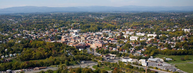 aerial view of the city of staunton